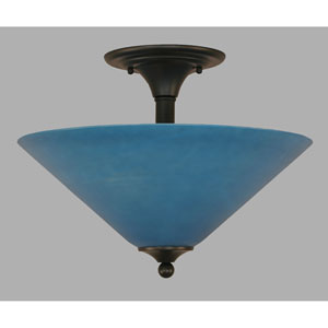 Matte Black 16-Inch Two Light Semi-Flush with Gray Linen Glass