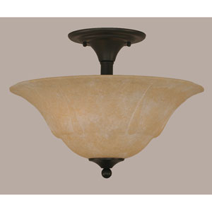 Matte Black 16-Inch Two Light Semi-Flush with Amber Marble Glass