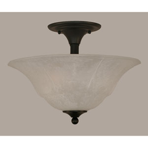 Matte Black 16-Inch Two Light Semi-Flush with White Marble Glass