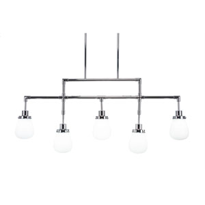 Meridian Chrome Five-Light Linear Pendant with White Glass