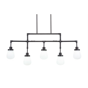 Meridian Dark Granite Five-Light Linear Pendant with White Glass