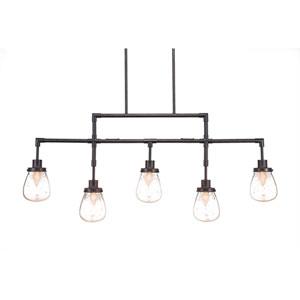 Meridian Dark Granite Five-Light Linear Pendant with Clear Bubble Glass