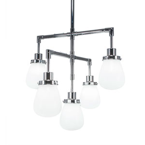 Meridian Chrome Five-Light Chandelier with White Glass