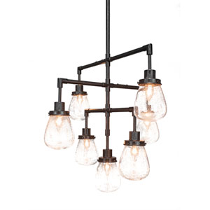 Meridian Dark Ganite Seven-Light Chandelier with Clear Bubble Glass