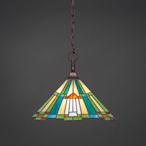 Any Bronze One-Light Pendant w/ 14-Inch Tango Tiffany Glass