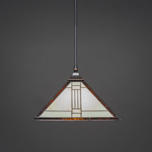 Square Black Copper One-Light Stem Hung Pendant with Santa Fe Tiffany Glass