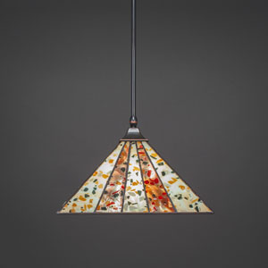 Square Black Copper One-Light Stem Hung Pendant with Fiesta Tiffany Glass