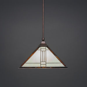 Square Bronze One-Light Stem Hung Pendant with Santa Fe Tiffany Glass