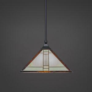 Square Matte Black One-Light Stem Hung Pendant with Santa Fe Tiffany Glass