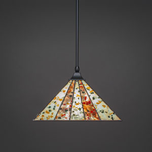 Square Matte Black One-Light Stem Hung Pendant with Fiesta Tiffany Glass