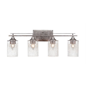 Uptowne Aged Silver Four-Light Bath Vanity with Clear Bubble Glass