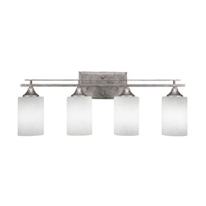 Uptowne Aged Silver Four-Light Bath Vanity with White Muslin Glass
