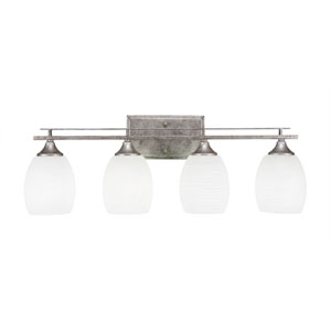 Uptowne Aged Silver Four-Light Bath Vanity with White Linen Glass