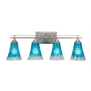 Uptowne Aged Silver Four-Light Bath Vanity with Fluted Teal Crystal Glass