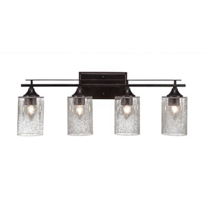 Uptowne Dark Granite Four-Light Bath Vanity with Clear Bubble Glass