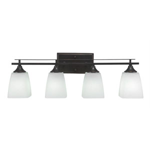 Uptowne Aged Silver Four-Light Vanity with White Muslin Glass