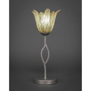 Revo Aged Silver One-Light Mini Table Lamp with Vanilla Leaf Glass