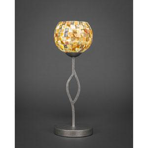 Revo Aged Silver One-Light Mini Table Lamp with Sea Mist Seashell Glass