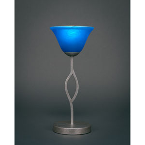 Revo Aged Silver One-Light Mini Table Lamp with Blue Italian Glass