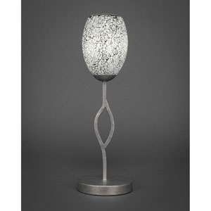 Revo Aged Silver One-Light Mini Table Lamp with Black Fusion Glass