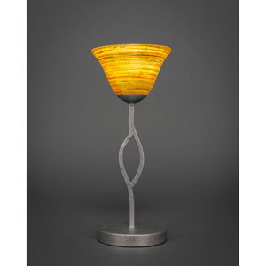 Revo Aged Silver One-Light Mini Table Lamp with Firre Saturn Glass