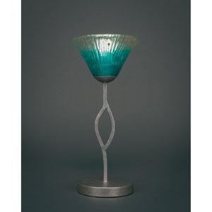 Revo Aged Silver One-Light Mini Table Lamp with Teal Crystal Glass