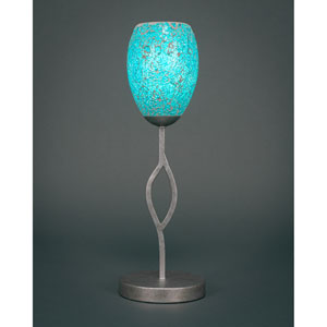 Revo Aged Silver One-Light Mini Table Lamp with Turquoise Fusion Glass