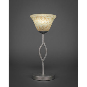 Revo Aged Silver One-Light Mini Table Lamp with Italian Marble Glass