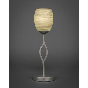 Revo Aged Silver One-Light Mini Table Lamp with 7-Inch Gray Linen Glass