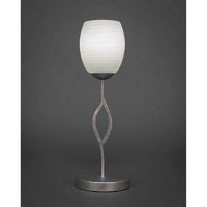 Revo Aged Silver One-Light Mini Table Lamp with 7-Inch White Linen Glass