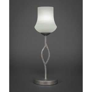 Revo Aged Silver One-Light Mini Table Lamp with 5-Inch White Linen Glass