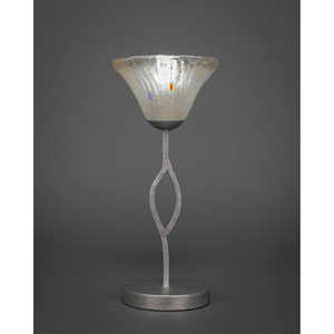 Revo Aged Silver One-Light Mini Table Lamp with Frosted Crystal Glass