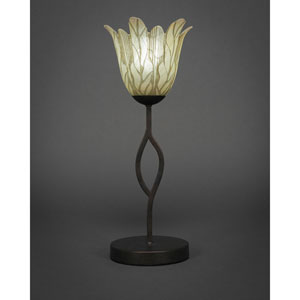Revo Dark Granite One-Light Mini Table Lamp with Vanilla Leaf Glass