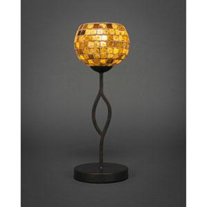 Revo Dark Granite One-Light Mini Table Lamp with 6-Inch Copper Mosaic Glass