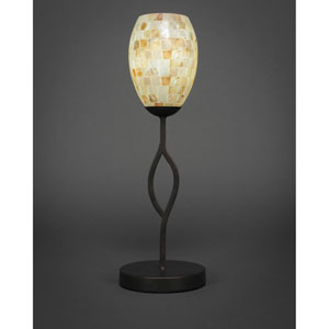 Revo Dark Granite One-Light Mini Table Lamp with Ivory Glass Seashell Glass