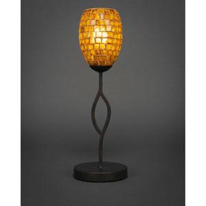 Revo Dark Granite One-Light Mini Table Lamp with 5-Inch Copper Mosaic Glass