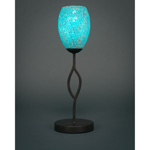 Revo Dark Granite One-Light Mini Table Lamp with Turquoise Fusion Glass