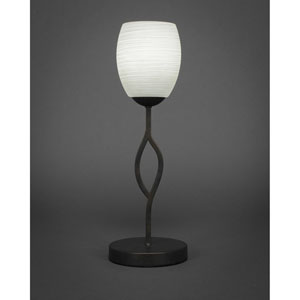 Revo Dark Granite One-Light Mini Table Lamp with 5-Inch White Linen Glass