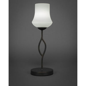 Revo Dark Granite One-Light Mini Table Lamp with 6-Inch White Linen Glass