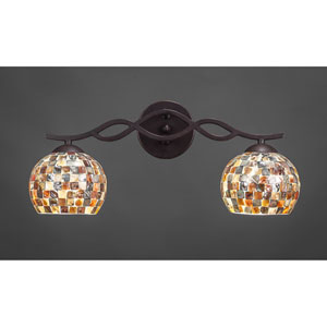 Revo Dark Granite Two-Light Bath Fixture with Sea Mist Seashell Glass