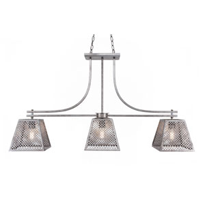 Corbello Aged Silver Three-Light LED Linear Pendant