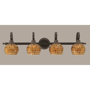 Curl Four-Light Bath Vanity Light - Bronze with 6 Inch Mosaic Glass