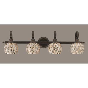 Curl Four-Light Bath Vanity Light - Bronze with 6 Inch Sea Shell Glass
