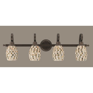 Curl Four-Light Bath Vanity Light - Bronze with 5 Inch Sea Shell Glass
