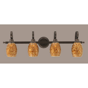 Curl Four-Light Bath Vanity Light - Bronze with 5 Inch Mosaic Glass