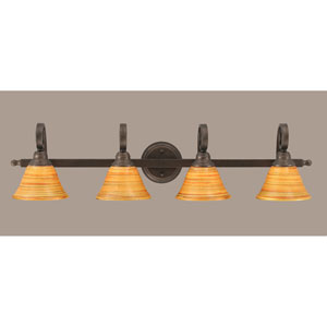 Curl Bronze Four-Light Bath Light with Firre Saturn Glass Shade