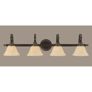 Curl Bronze Four-Light Bath Light with Amber Marble Glass Shade