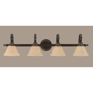 Curl Bronze Four-Light Bath Fixture with Italian Marble Glass