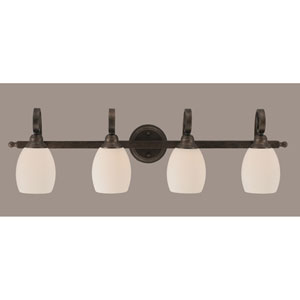 Curl Four-Light Bath Vanity Light - Bronze with 5 Inch White Linen Glass
