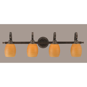 Curl Four-Light Bath Vanity Light - Bronze with 5 Inch Cayenne Linen Glass